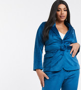 Fashion Union Plus tailored blazer with belted waist in teal velvet co-ord