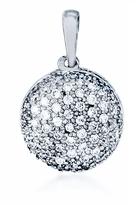Ice 1/4 CT TW White Diamond Polished 10K White Gold Domed Circle Pendant Necklace
