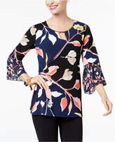 JM Collection Chiffon-Sleeve Keyhole Top, Created for Macy's