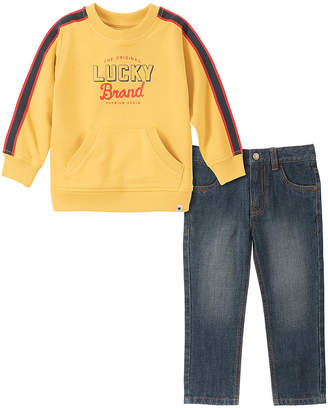 Lucky Brand Boys' Denim Pants and Jeans ASSORTED - Yellow French Terry Sweatshirt & Blue Jeans - Toddler & Boys