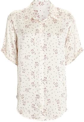 Frankie's Bikinis Fifi Paisley Silk Button-Down Shirt