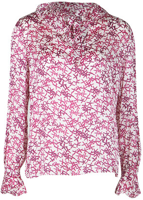 Carolina Herrera CH White and Pink Printed Silk Long Sleeve Blouse M