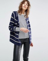 Suncoo Gislaine Stripe Navy and Gold Knitted Cardigan