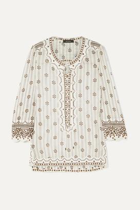 Isabel Marant Alicia Lace-up Embellished Printed Cotton-gauze Tunic - White