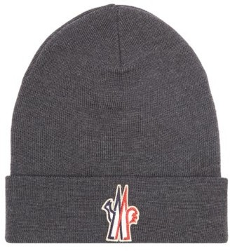 MONCLER GRENOBLE Logo-patch Wool Beanie Hat - Dark Grey