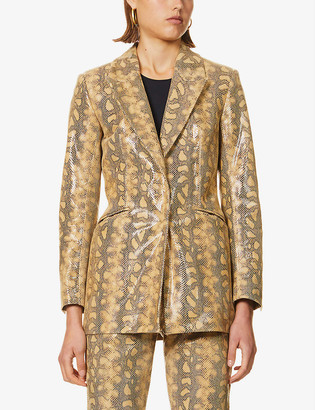 16Arlington Kiku snakeskin-print leather blazer