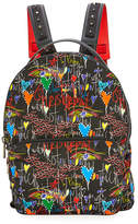 Christian Louboutin Backloubi Men's Graffiti-Print Backpack