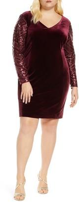 Donna Ricco Long Sleeve V-Neck Velvet Cocktail Dress