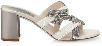 Rene Caovilla Knotted Crystal-Embellished Satin Mules