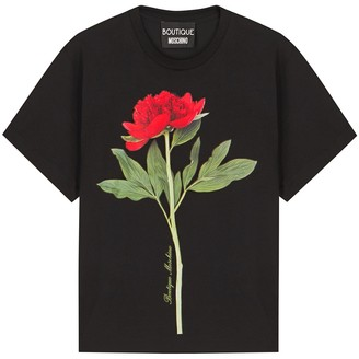 Boutique Moschino Black rose-print cotton T-shirt