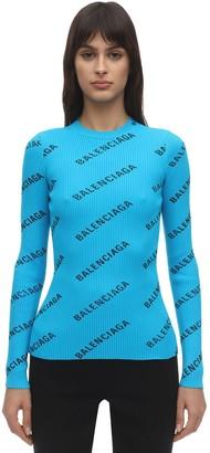 Balenciaga Logo Printed Knit Rib Crewneck Sweater