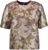 Raoul Donata silk-blend twill-paneled jacquard top