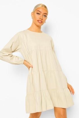 boohoo Denim Tiered Smock Dress