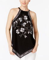 Alfani Embroidered V-Hem Top, Only at Macy's