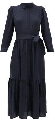 Cefinn - Leopard-jacquard Twill Midi Dress - Womens - Navy