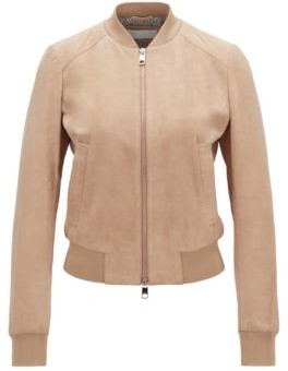 HUGO BOSS Blouson-style suede jacket with monogram-print lining