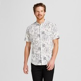 Merona Men's Short Sleeve Collarless Button Down Shirt Floral Printed Cream
