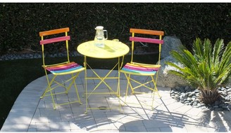 Alpine Corporation Indoor/Outdoor 3-Piece Bistro Set Folding Table and Chairs Patio Seating, Rainbow