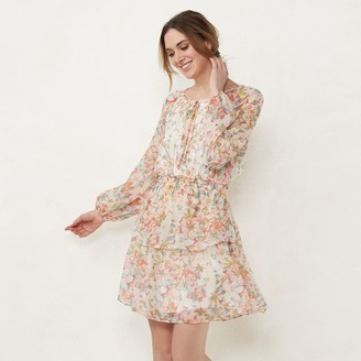Lauren Conrad Women's Long Sleeve Mini Peasant Dress