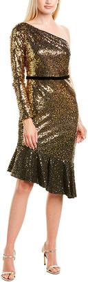 Marchesa Notte Glitter Ruffle Satin Cocktail Dress
