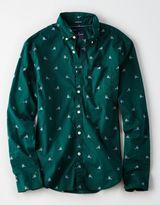American Eagle Outfitters AE Dot Print Poplin Shirt