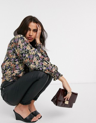 Y.A.S wrap crop top with shirred waist in black floral