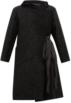 Sara Lanzi Double-breasted Tinsel Coat - Black