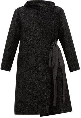 Sara Lanzi Double Breasted Tinsel Coat - Womens - Black