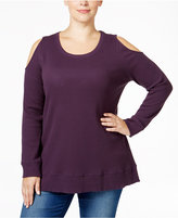 Style&Co. Style & Co. Plus Size Cold-Shoulder Thermal Top, Only at Macy's