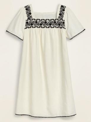 Old Navy Embroidered-Yoke Square-Neck Linen-Blend Shift Dress for Women