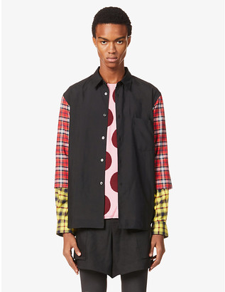 Comme des Garcons Patchwork relaxed-fit crepe and cotton-blend shirt