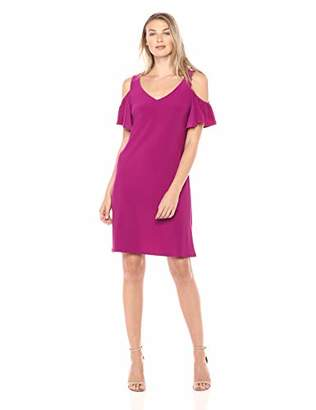 MSK Women's Flutter Sleeve Cold Shoulder Shift Dress