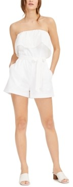 Bar III Strapless Eyelet-Embroidered Romper, Created for Macy's