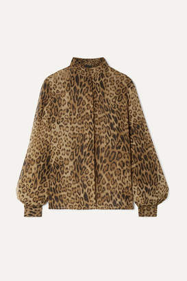 Nili Lotan Evelyn Leopard-print Silk-chiffon Blouse - Brown