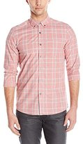 Kenneth Cole New York Men's Long Sleeve Button Down Collar Heather Plaid Shirt
