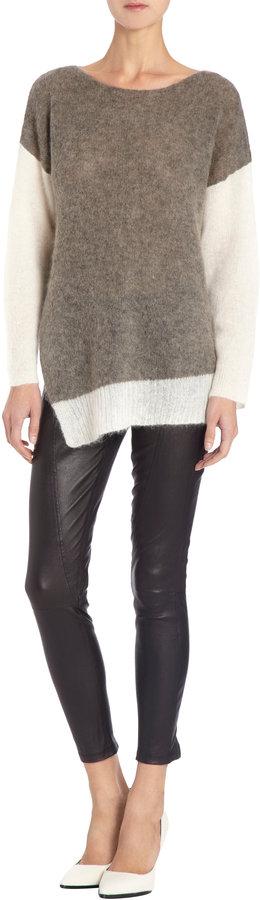 Helmut Lang Alpaca Contrast-Sleeve Pullover