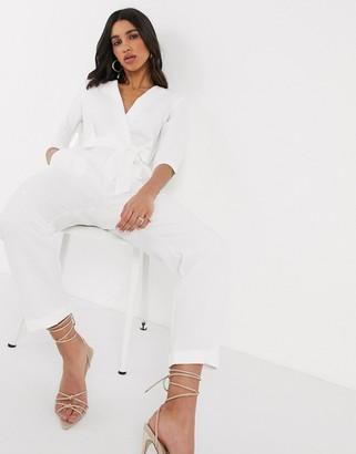 Closet London V neck tie waist jumpsuit in white