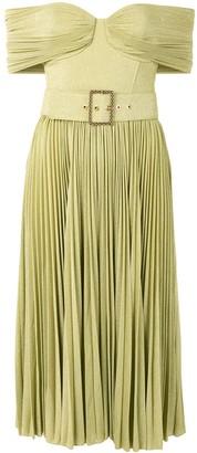 Elisabetta Franchi Pleated Off-Shoulder Dress