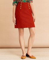 Brooks Brothers Wool Tweed Button-Front A-Line Skirt