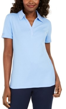 Karen Scott Cotton Eyelet-Collar Top, Created for Macy's