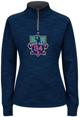 Majestic Women's David Ortiz Navy Boston Red Sox Retirement Logo Streak Fleece Quarter-Zip Jacket