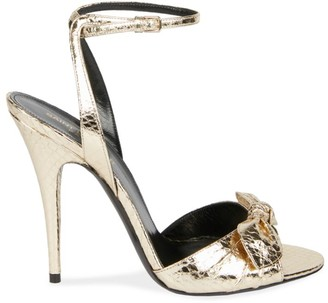 Saint Laurent Tot Metallic Snakeskin Sandals