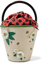 Charlotte Olympia Picnic Leather-trimmed Embellished Linen Bucket Bag - Beige