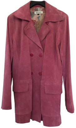 Balmain Pink Suede Coat for Women Vintage