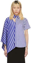 Facetasm Blue and White Striped Asymmetric Shirt