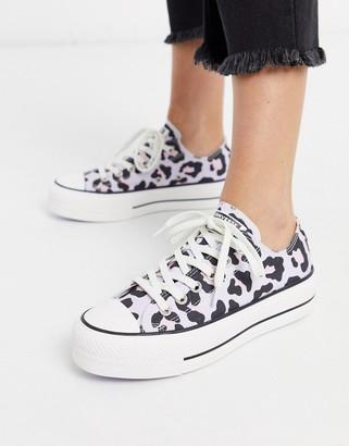 Converse Chuck Taylor Lo Lift Platform Lilac leopard print trainers