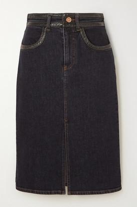 See by Chloe Vinyl-trimmed Denim Skirt - Charcoal