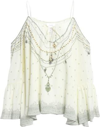 Camilla Cold-shoulder Embellished Printed Silk-georgette Top