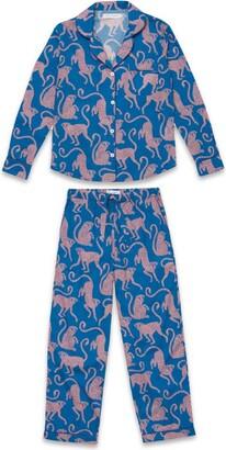 Desmond & Dempsey Chango Monkey Long-Sleeved Pyjama Set