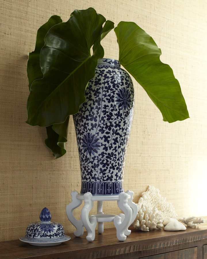 Horchow Porcelain Temple Jar & Stand